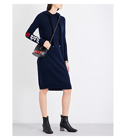 MO&CO. Hooded wool and yak-blend dress (Peacoat