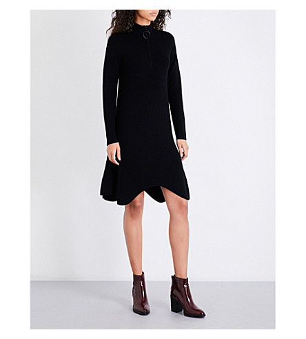 MO&CO. Zip-collar knitted dress (Black