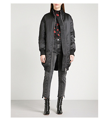 MO&CO. Oversized satin quilted down-blend coat (Black