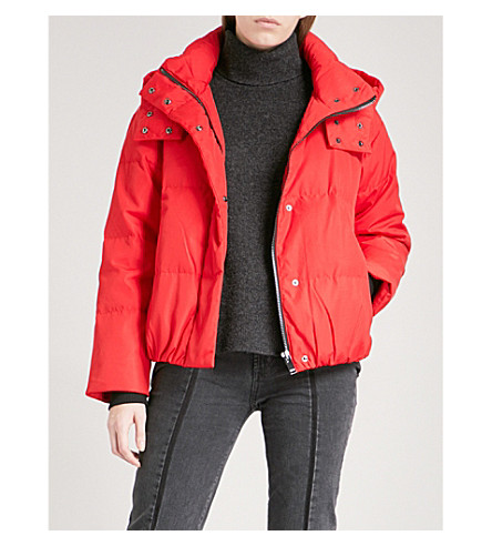 MO&CO. Slogan-print shell-down puffer jacket (Fiery+red