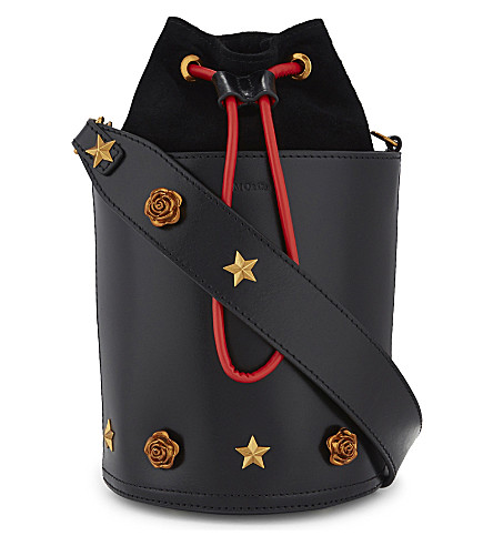 MO&CO. Embellished leather bucket bag (Black