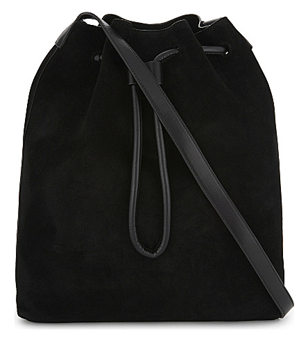 MO&CO. Embroidered leather and suede shoulder bag (Black