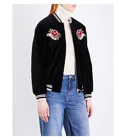 MO&CO. Embroidered velvet bomber jacket (Black