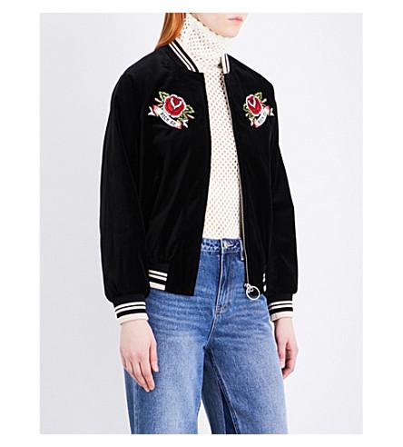 MO&CO. Embroidered velvet bomber jacket (Black