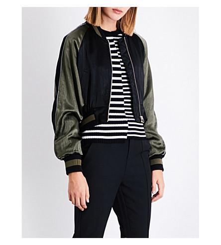 MO&CO. Eagle-embroidered satin bomber jacket (Black