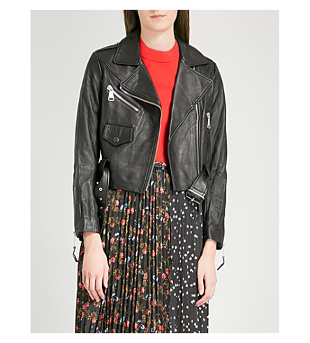 MO&CO. Cropped leather biker jacket (Black