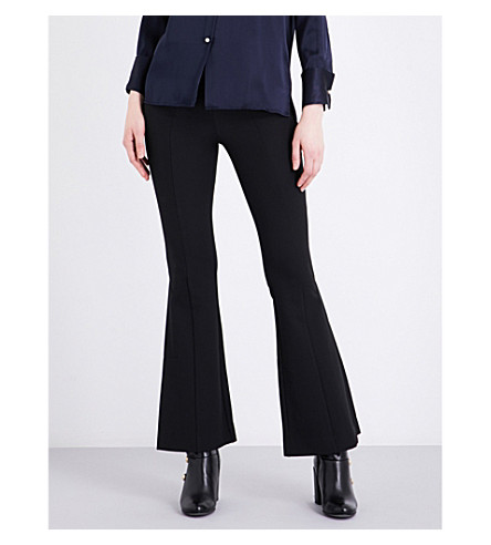 MO&CO. Flared high-rise crepe trousers (Black