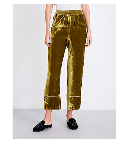 MO&CO. Wide-leg cropped velvet trousers (Ecru+olive