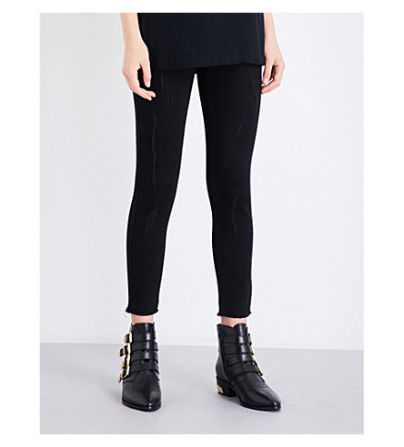 MO&CO. Frayed-hem high-rise skinny cropped jeans (Black+denim