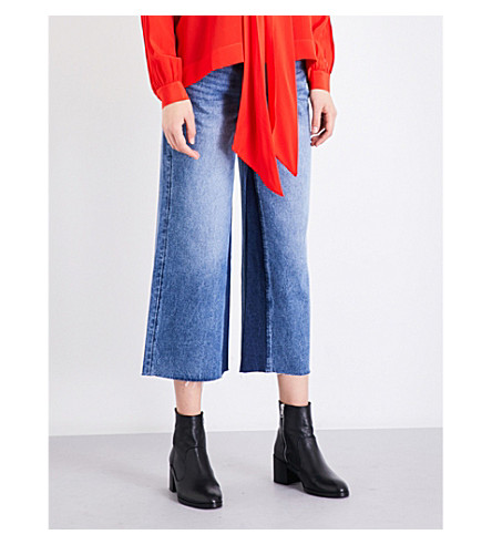 MO&CO. Panel-detail wide-leg high-rise cropped jeans (Light+denim+blue