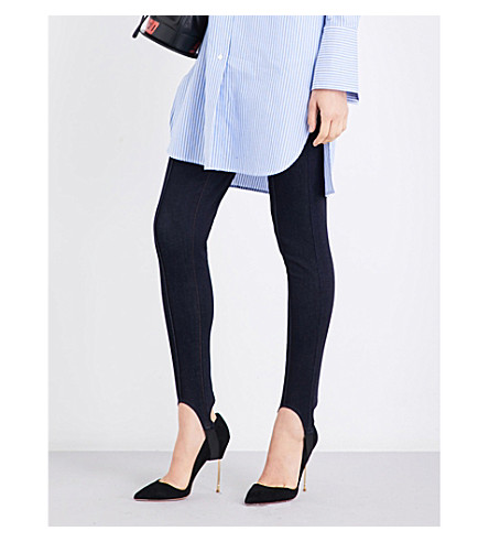 MO&CO. Stirrup-detail high-rise skinny jeans (Blue+denim