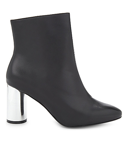 MO&CO. Leather mirrored ankle boots (Black