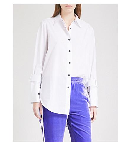 MO&CO. Buckle-detail cotton-poplin shirt (Snow+white