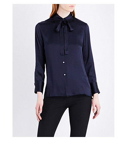 MO&CO. Silk-satin shirt (Peacoat