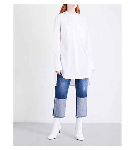 MO&CO. Mandarin-collar cotton-poplin tunic (Snow+white
