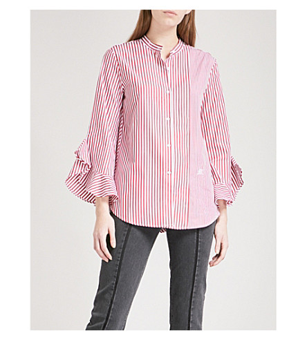 MO&CO. Flared-cuff striped cotton-poplin shirt (Red+and+white+stripe