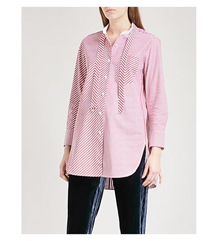 MO&CO.颈部领带细节条纹男友风版型棉府绸衬衫 (红 + + 白 + 条纹