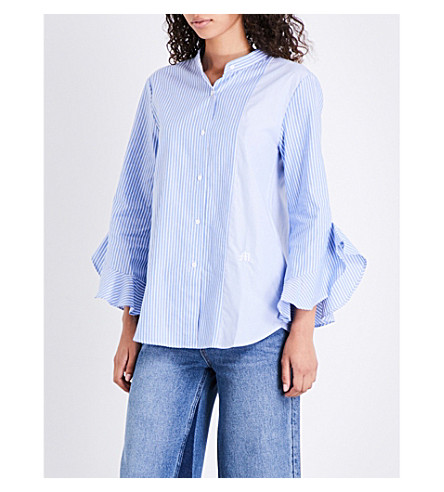 MO&CO. Striped cotton-poplin shirt (Blue+and+white