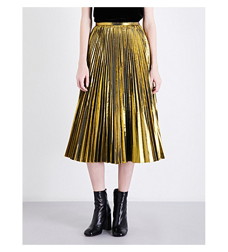 MO&CO. Golden pleated metallic midi skirt (Pale+gold