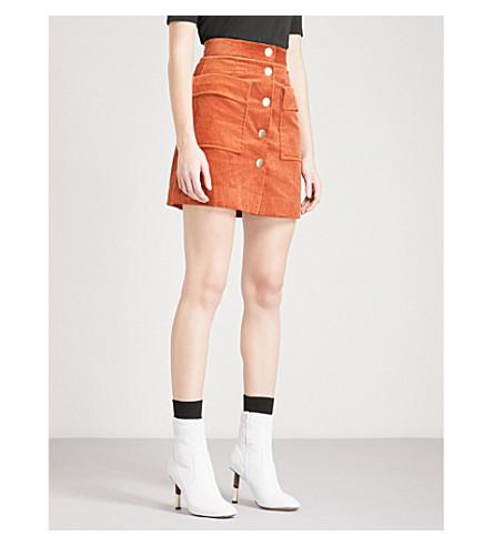 MO&CO.A 线灯芯绒迷你裙 (国泰香料