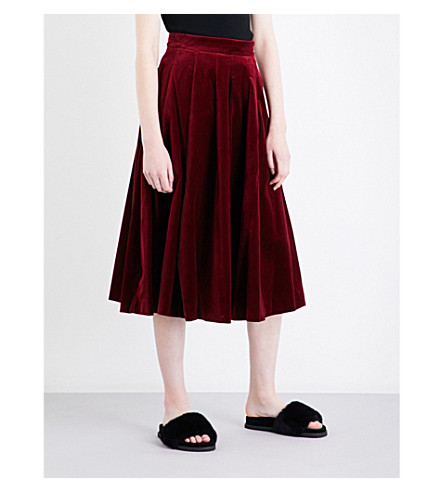 MO&CO. High-rise cotton-velvet skirt (Biking+red
