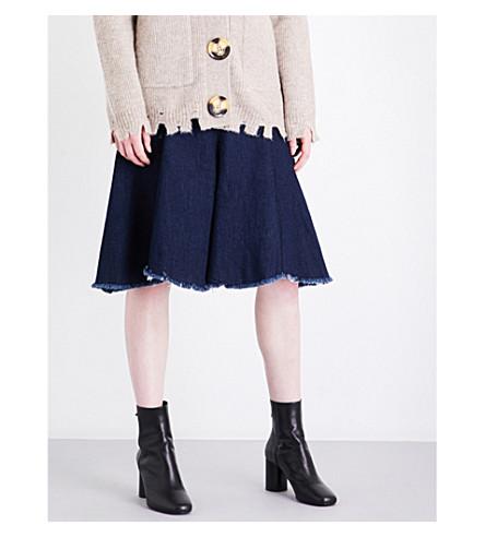 MO&CO. Raw-hem A-line denim skirt (Blue+denim