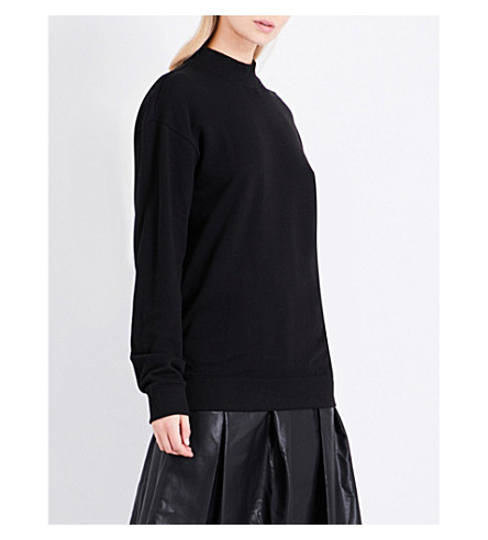 MO&CO. Printed cotton-jersey sweatshirt (Black
