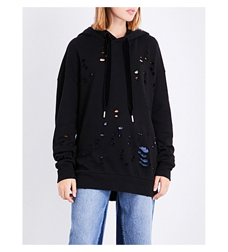 MO&CO. Destroyed cotton-jersey hoody (Black