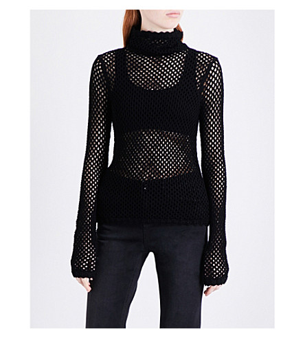 MO&CO. Open-knit knitted turtleneck jumper (Black