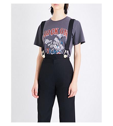 MO&CO. Rock On-print cotton-jersey T-shirt (Gunmetal
