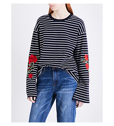 MO&CO. Striped cotton-jersey top (Blue+and+white