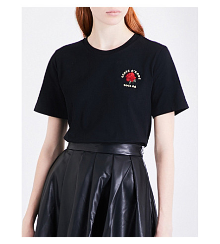 MO&CO. Rose-embroidered cotton-jersey T-shirt (Black