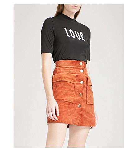 MO&CO. Love printed stretch-cotton T-shirt (Black