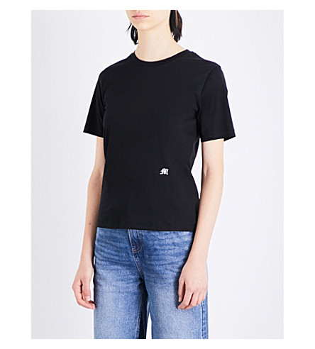 MO&CO. Logo-embroidered cotton-jersey T-shirt (Black