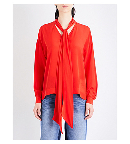 MO&CO. Tie-neck silk-crepe blouse (Fiery+red