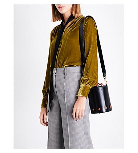 MO&CO. Ruched velvet blouse (Ecru+olive
