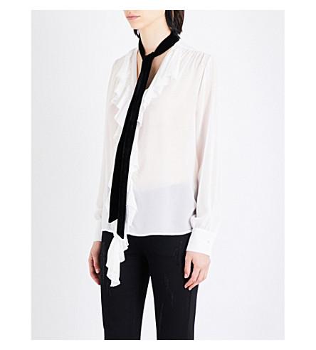 MO&CO. Contrast-tie silk-crepe blouse (Gardenia