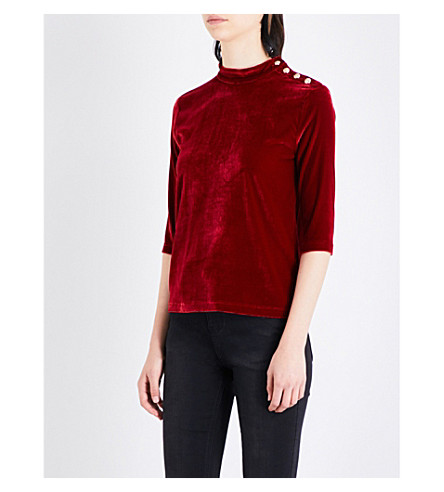 MO&CO. High-neck velour top (Tango+red