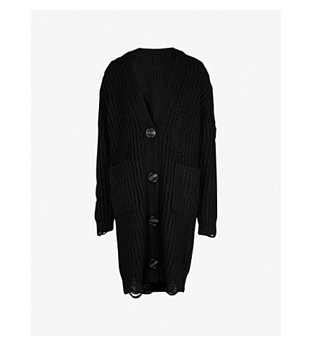 MO&CO. Destroyed wool-blend cardigan (Black
