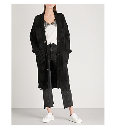 MO&CO. Destroyed wool-blend cardigan (Black