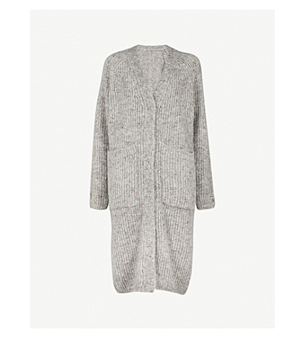 MO&CO. Oversized mohair-blend cardigan (Heather+grey