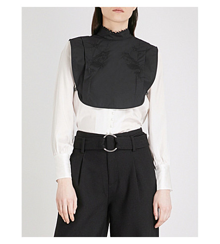 MO&CO. Mermaid-embroidered cotton collar (Black
