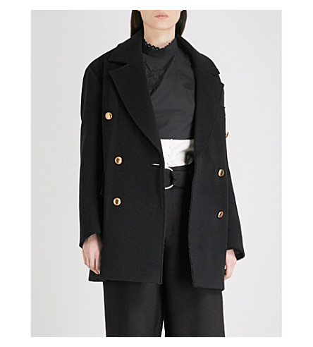 MO&CO. Double-breasted wool-blend coat (Black