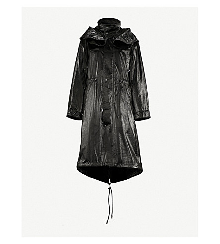 MO&CO. Drawstring-detail patent coat (Black