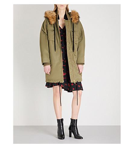 MO&CO. Faux-fur trim shell parka coat (Yellow