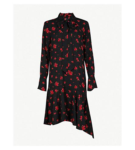 MO&CO. Floral-print crepe shirt dress (Apricot+pattern