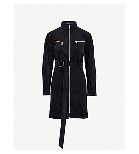 MO&CO. Zip-detail velvet mini dress (Peacoat