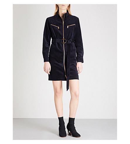 MO&CO. Zip-detail velvet mini dress (Peacoat
