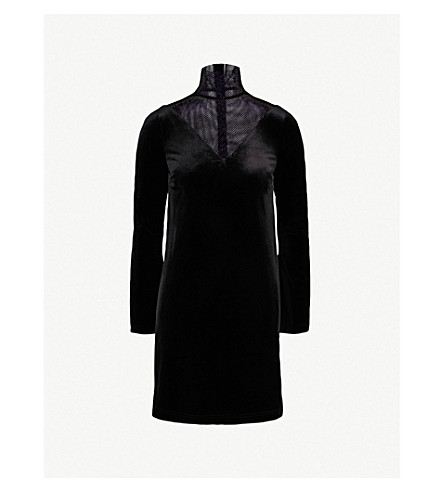 MO&CO. Turtleneck velvet and mesh dress (Black