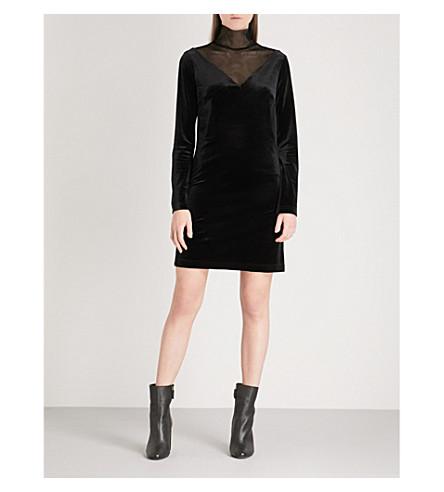 MO&CO. Turtleneck velvet and mesh dress (Black